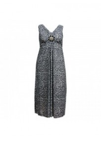 robe grande taille - maxidress motif léopard perlée lovedrobe (face)