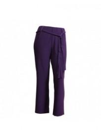 pantalon grande taille - pantalon fluide avec ceinture tressée violet (face)