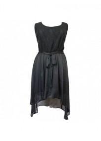 Robe grande taille - robe noire asymétrique en voile (face)
