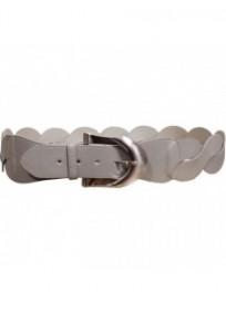 ceinture grande taille - ceinture fantaisie tressée coloris gris clair