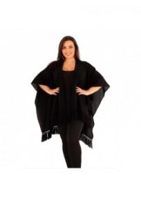 """gilet veste grande taille - cape poncho """"drew"""" Lili London noire (face)"""