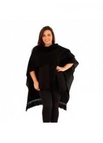 """gilet veste grande taille - cape poncho """"drew"""" Lili London noire (face 2)"""