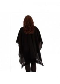 "gilet veste grande taille - cape poncho ""drew"" Lili London noire (dos)"
