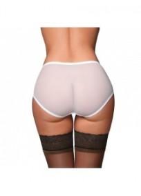 "culotte grande taille - culotte transparente rétro ""Betty"" coloris blanc (dos)"