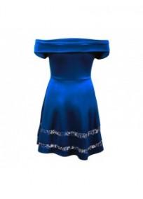 "robe grande taille - robe de cocktail style bardot ""studio"" Lili London coloris bleu (dos)"