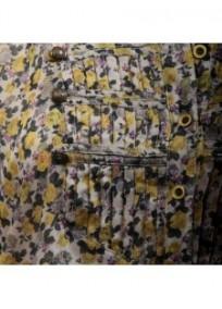 chemisier grande taille - chemisier manches courtes motif fleuri coloris jaune (détail)