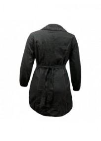 Manteau grande taille - manteau tissu alvéolé L33 gris foncé (dos)