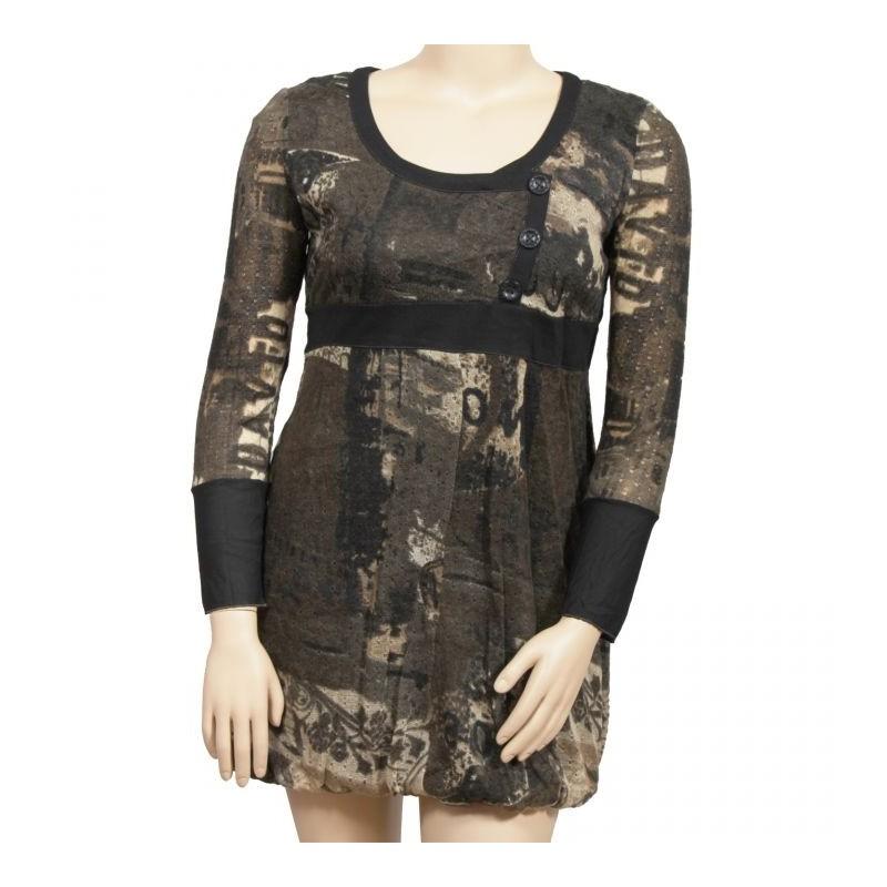 robe kaki imprimée L33 grande taille (face)