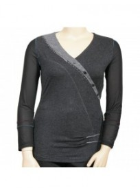 pull gris brodé L33 grande taille (face)