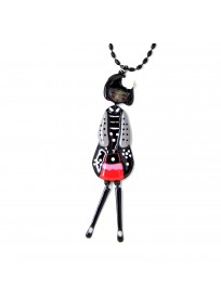 collier fantaisie grande taille - collier pepette Maelys coloris noir lol bijoux