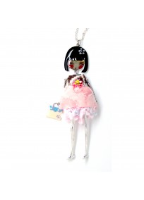 """collier fantaisie grande taille - collier pepette Gabie coloris rose """"les pepettes"""" Lol bijoux"""