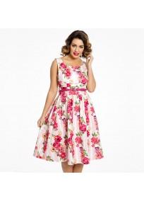 """robe grande taille - robe vintage """"Delta"""" Lindy Bop imprimé """"Bouquet floral"""" (face porté)"""