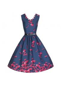 """robe grande taille - robe vintage """"Daria"""" Lindy Bop imprimé """"coquelicot"""" (face non porté)"""