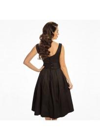 """Robe grande taille - robe noire vintage """"Lana"""" de la marque Lindy bop (dos)"""