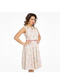 """Robe grande taille - robe à motif cupcakes vintage """"Lily"""" de la marque Lindy bop (porté côté)"""