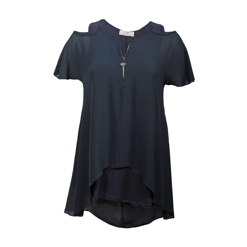 top et tuniques grandes tailles - tunique épaules dénudées avec zip bleu marine 2W (face)