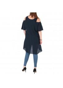 top et tuniques grandes tailles - tunique épaules dénudées avec zip bleu marine 2W (dos porté)