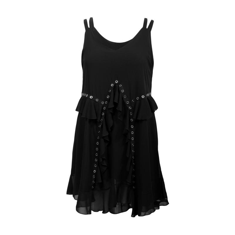 Robe grande taille - robe été noire à oeillets 2W (face)