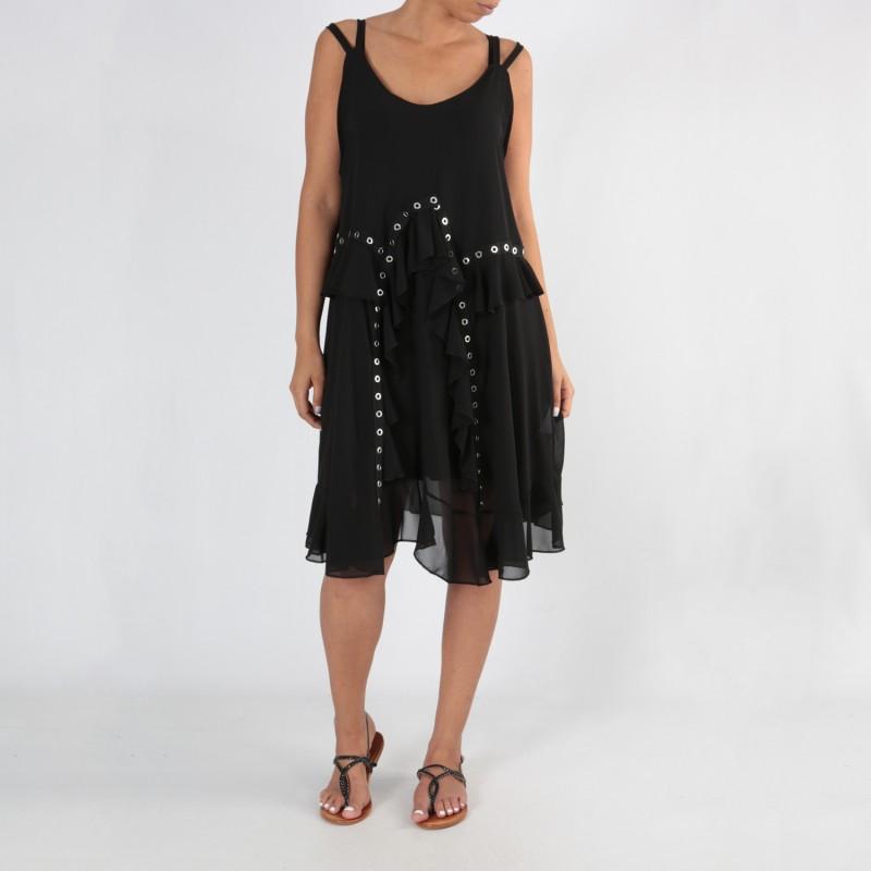 Robe grande taille - robe été noire à oeillets 2W (face porté)
