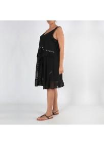 Robe grande taille - robe été noire à oeillets 2W (face 3/4 porté)