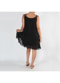 Robe grande taille - robe été noire à oeillets 2W (dos porté)