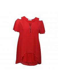 top et tuniques grandes tailles - tunique épaules dénudées avec zip rouge 2W (face)