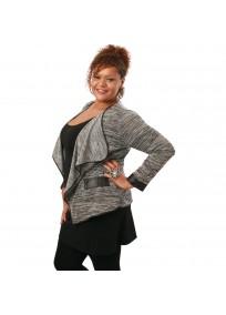 Veste grande taille - gilet blazer gris chiné Maelle (porté)