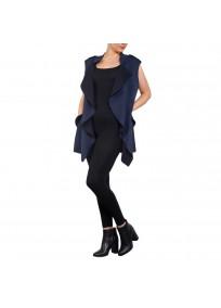 Gilet grande taille - veste gilet sans manches bleu marine suedine 2W (face porté)