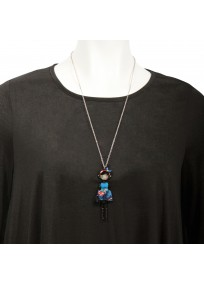 """collier fantaisie grande taille - collier pepette Julie coloris bleu """"les pepettes"""" Lol bijoux (porté)"""
