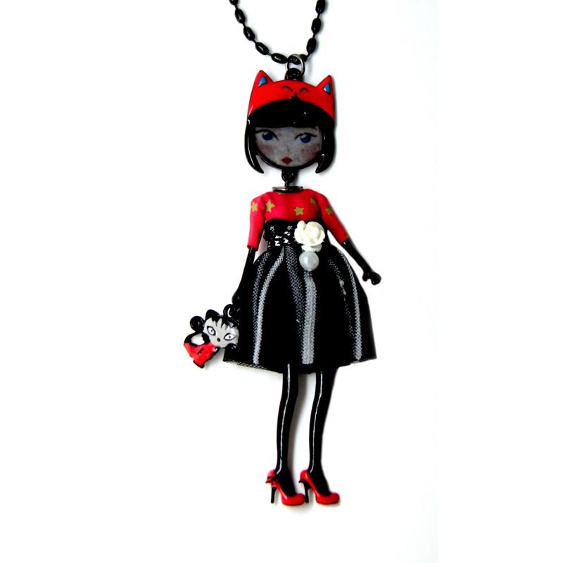 Collier fantaisie grande taille - sautoir Chantal rouge les pepettes lol bijoux
