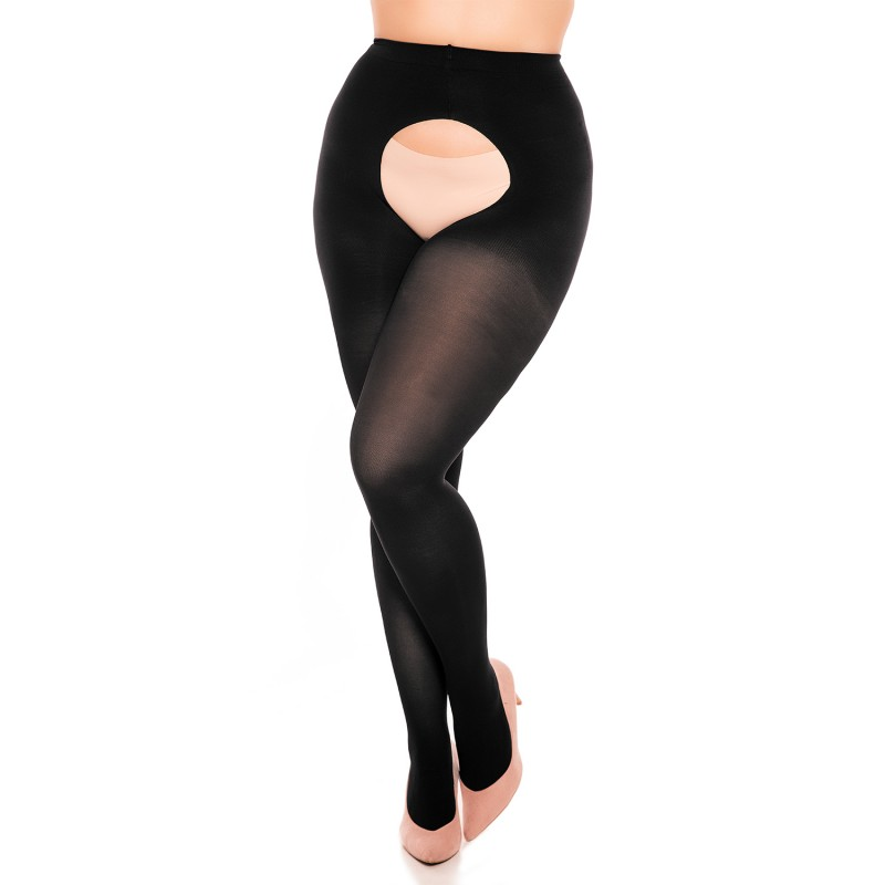 collant ouvert grande taille - collant ouvert opaque 60 deniers Glamory