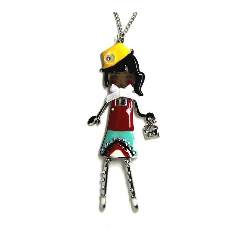 """collier fantaisie grande taille - collier pepette Ninon coloris rouge """"les pepettes"""" Lol bijoux"""