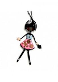 """collier fantaisie grande taille - collier pepette Ariel coloris rose """"les pepettes"""" Lol bijoux"""