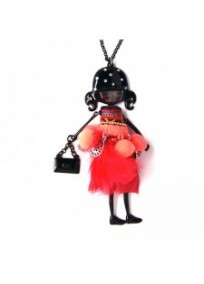 """collier fantaisie grande taille - collier pepette Paula coloris rouge """"les pepettes"""" Lol bijoux"""