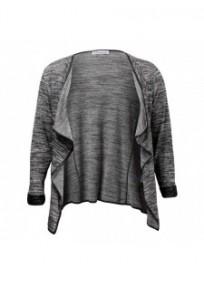 Veste grande taille - gilet blazer gris chiné Maelle (face)