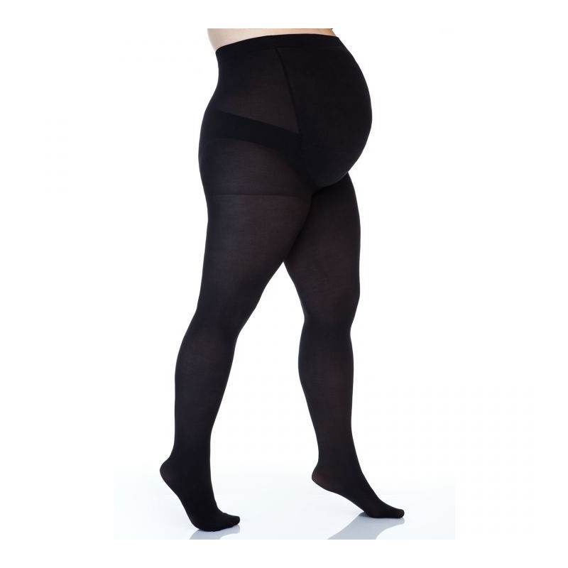 Collants grossesse grande taille - collants maternité 50 deniers opaque noirs (face)