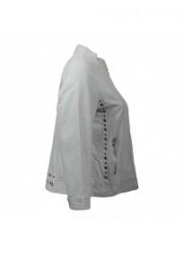 manteau grande taille - blouson simili cuir gris clair Nana Belle (côté)