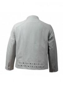 manteau grande taille - blouson simili cuir gris clair Nana Belle (dos)