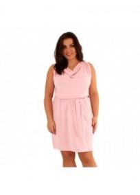 "robe grande taille - robe courte rose col bénitier avec ceinture ""Kathleen"" Lili London (portée face)"