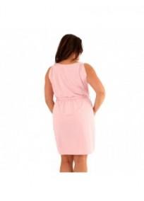 "robe grande taille - robe courte rose col bénitier avec ceinture ""Kathleen"" Lili London (portée dos)"