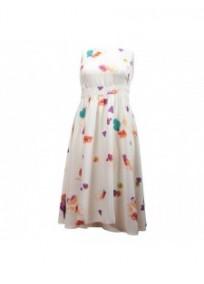 robe grande taille - robe blanche imprimée grande fleurs été ceinture à la taille k&d london (face)