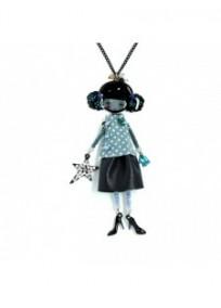 Collier fantaisie grande taille - sautoir Candice bleu clair les pepettes lol bijoux