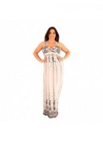 robe grande taille - maxi dress très longue ashanti lili london imprimée dentelle fleurie (portée face)