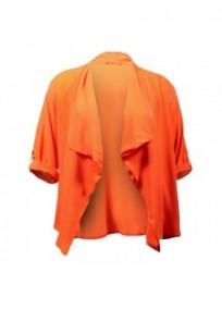 veste grande taille - blazer chemise fine orange effet cascade dégriffée n** L**k (face)