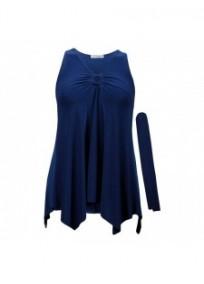 "tunique grande taille - top ""lus"" + foulard assorti Magna coloris cobalt (face)"