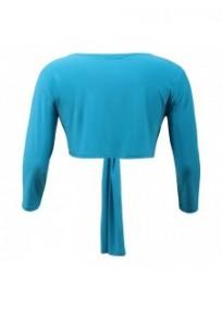 gilet grande taille - boléro à nouer manches longues Magna coloris bleu turquoise (dos)