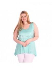 """tunique grande taille - top asymétrique """"Lola"""" Magna Fashion vert d'eau (porté)"""