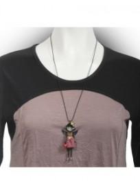 collier fantaisie grande taille - collier pepette Alexia coloris rouge lol bijoux (porté)