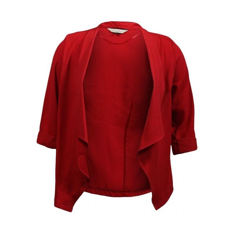 Veste grande taille - veste col cascade manches 3/4 rouge (face)