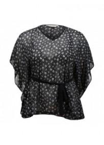 Tunique grande taille - top kimono transparent motif petits noeuds et strass (face)